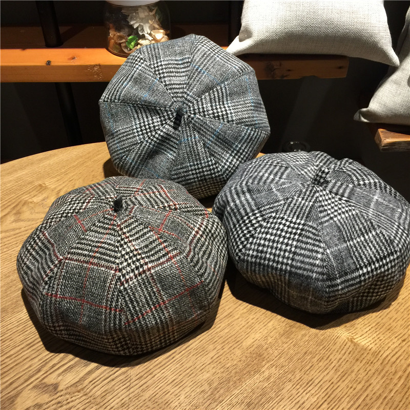 Retro autumn and winter thousand bird Plaid Beret Korean art leisure hat student versatile painter bud hat trendy girl