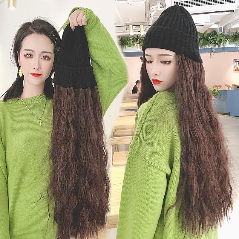 帽子假发一体女冬天时尚潮流带头发的帽子羊毛卷长卷发全头套