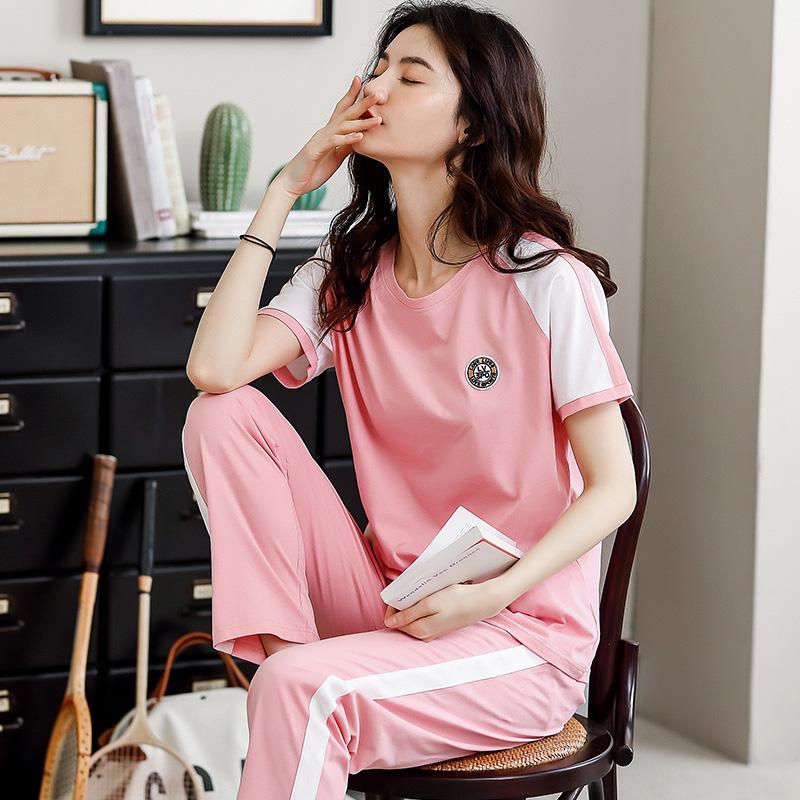半袖の長ズボンのパジャマの女性の夏の純綿のスーツは家にいます。春夏の女性は運動100%の綿の家着を着られます。