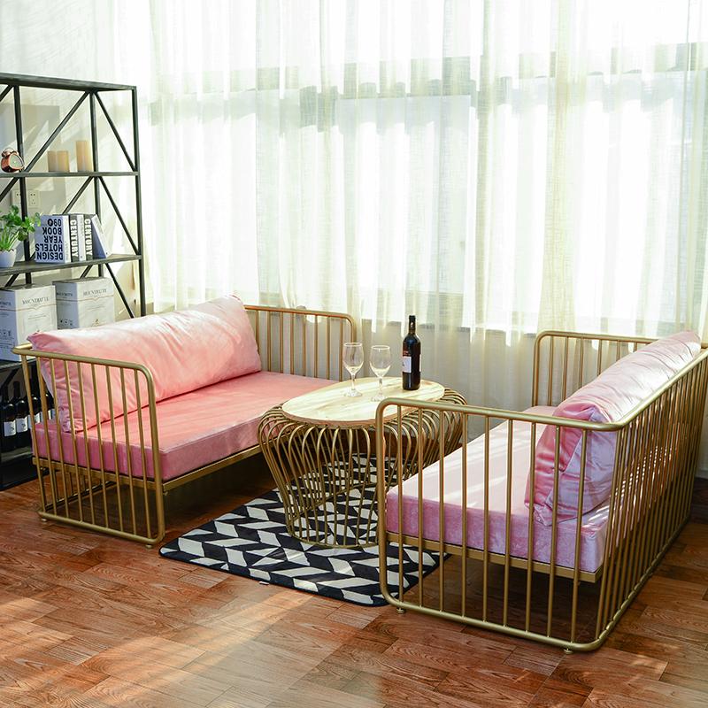 北欧沙发网红款小户型铁艺双人椅简约现代美容院洽谈沙发茶几组合12月01日最新优惠