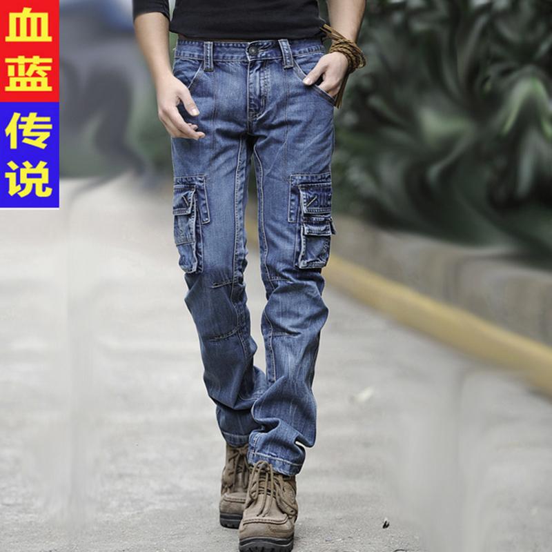 原创多口袋牛仔裤男工装裤多兜户外休闲多袋牛仔裤男士小直筒修身