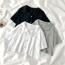 短款露脐上衣女夏2020新款设计感小众短袖polo衫学生宽松白色衬衫