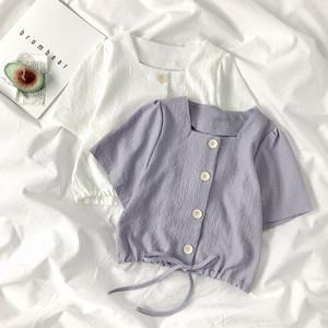 紫色上衣女夏季2020韩版设计感小众抽绳短款高腰法式方领短袖衬衫