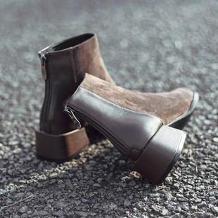 妹妹春秋秋冬靴子特别时尚女鞋2018新款青春百搭短靴坡跟粗跟时髦