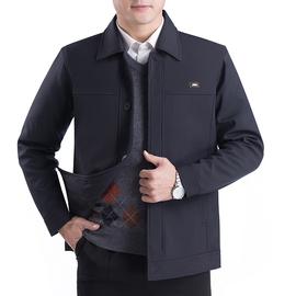 新款爸爸春装外套男中老年休闲男装老人父亲上衣春秋中年男士夹克