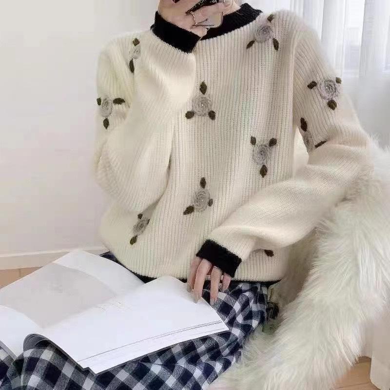 Korean dongdamen womens new heavy industry Embroidery Flower versatile loose long sleeve sweater sweet new product