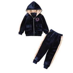 女童金絲絨套裝2020新款秋冬裝洋氣中大童加絨加厚開衫衞衣兩件套