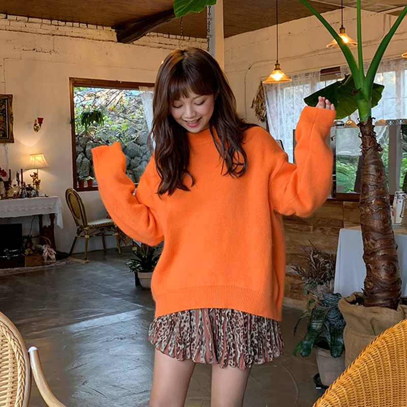 Sweater womens loose fitting Pullover net red crew neck orange top lazy wind 2020 new Korean bottomed sweater winter