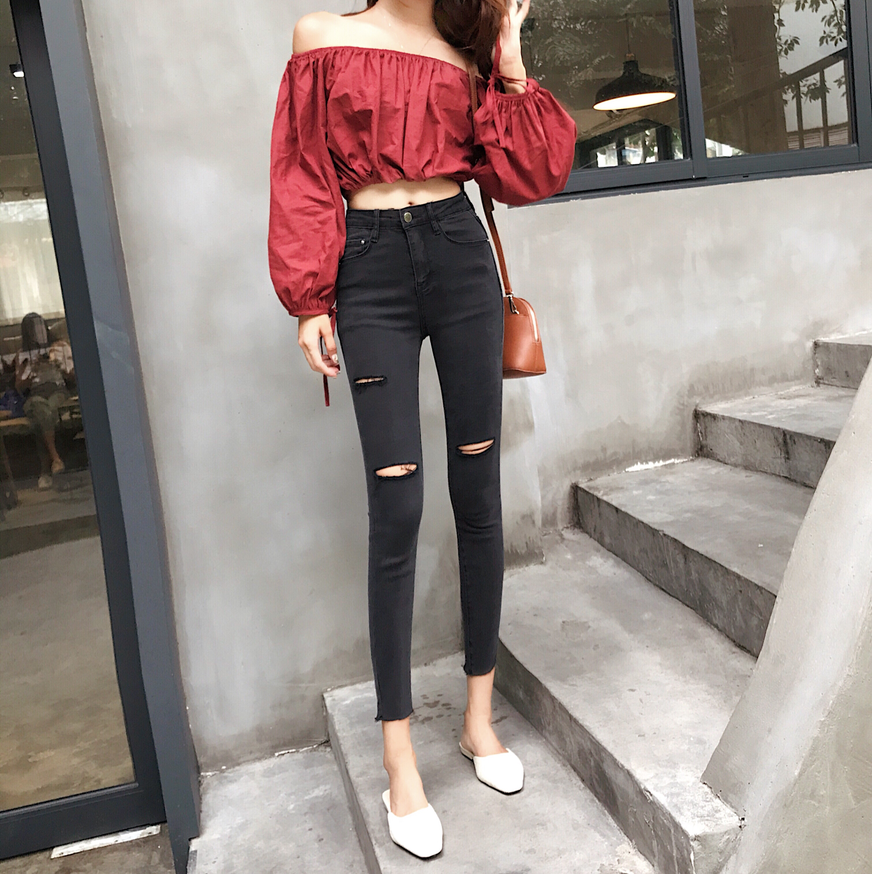 Real Shot Korean-Style High Waist Social Baggy Jeans Was Thin Feet Cropped Pants Black Hole Jeans Female