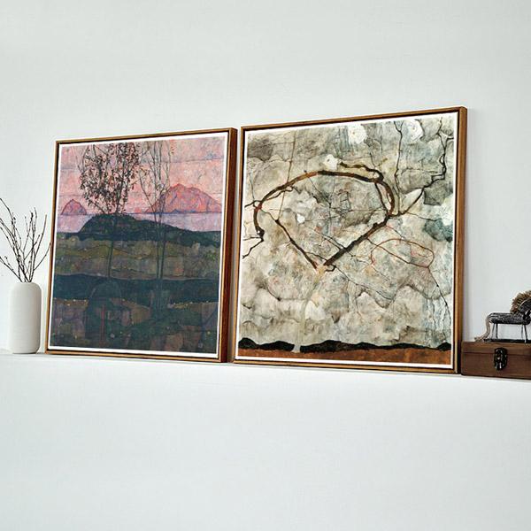Egon Schiele秋树席勒欧式客厅装饰画壁挂画方形风景挂画墙画油画图片