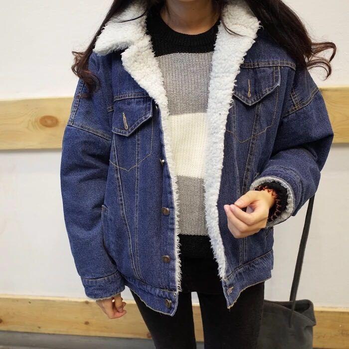 14韩版大码加厚羊羔毛牛仔外套学生棉衣棉服加绒短款棉袄
