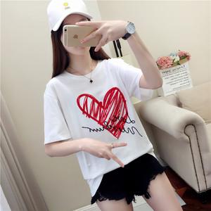 172019新款夏装短袖t恤女韩版百搭学生宽松韩范白色半袖上衣女