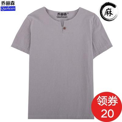 中国风亚麻t恤男短袖夏季v领半袖紧身体恤打底衫纯白色棉麻上衣潮