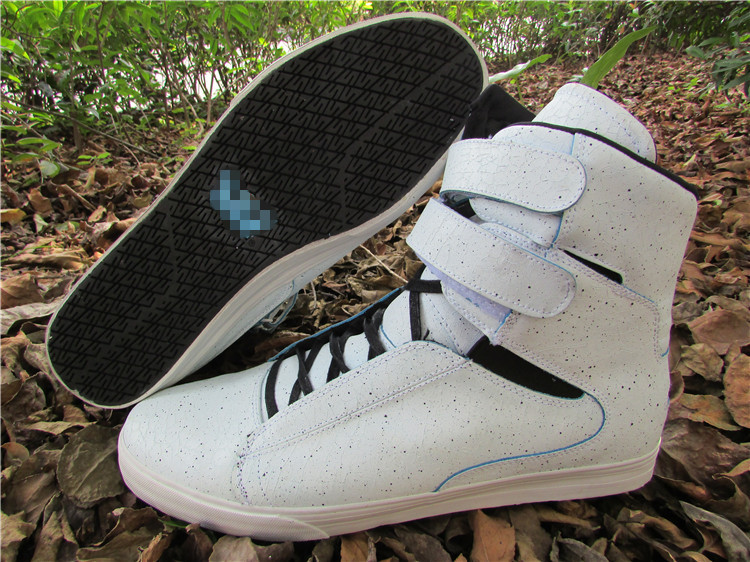 Autumn and winter oversize white Velcro leather high top skateboard mens shoes 46 47 48 49 50 51 white shoes