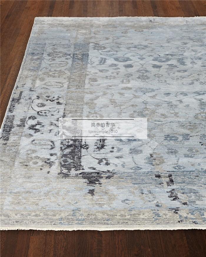 美国 简单的奢华 锡里 蓝色新西兰羊毛 手工编织 地毯地垫 多尺寸