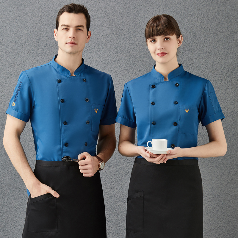 Italian restaurant chefs clothes summer short sleeve bread hamburgers clothes cake makers work clothes flower mounting mans uniform barbecue