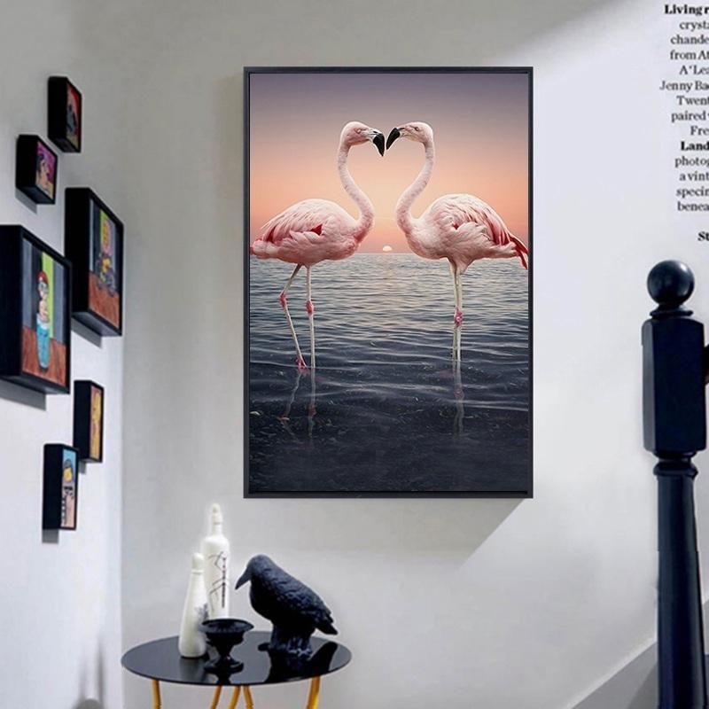 北欧简约风火烈鸟玄关客厅卧室壁画