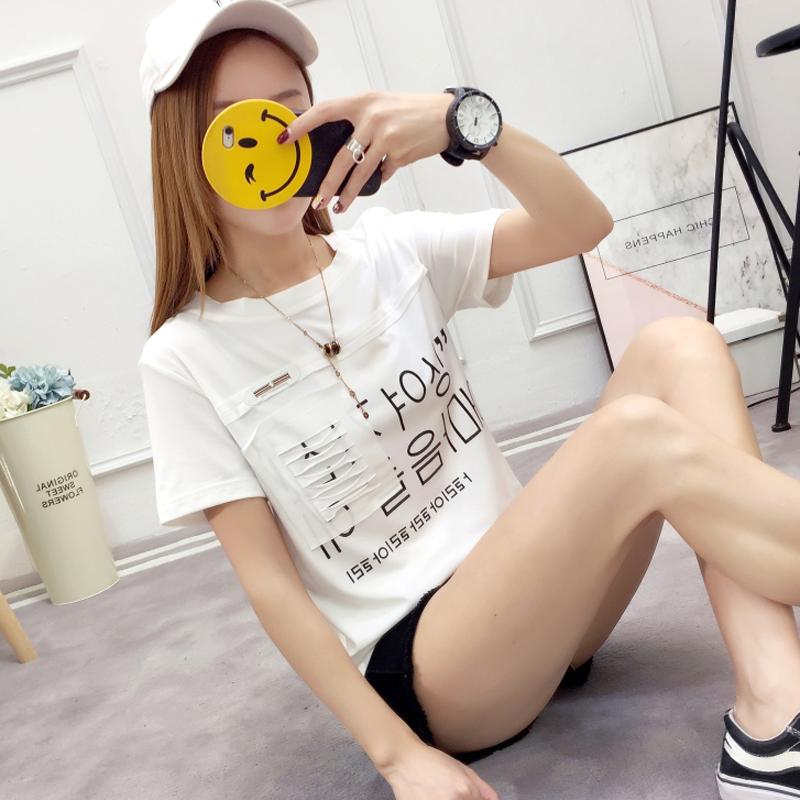 实拍190克双磨t恤女韩版印花字母破洞学院风韩文短袖女上衣