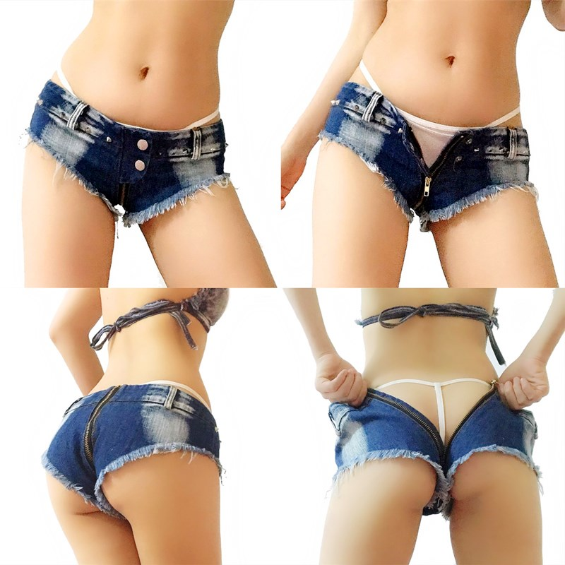 Front and back zipper high waisted denim super shorts smart womens pants sexy hot pants zipper crotch truth pants 21