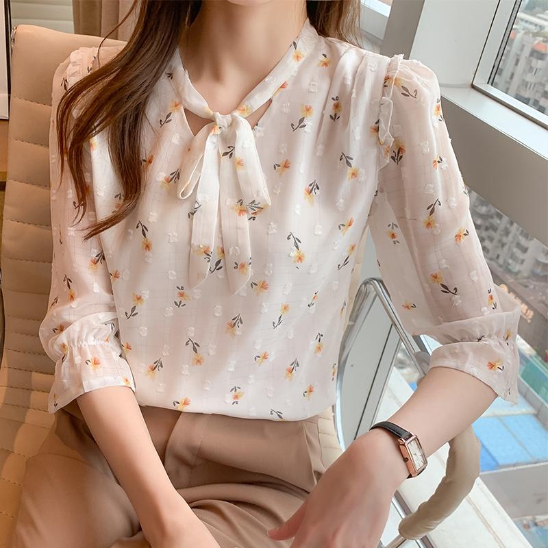 2021夏季新款系带甜美雪纺衫衬衫印花女士韩版上衣小衫
