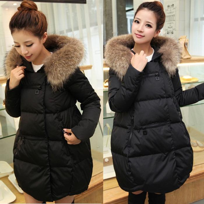 2018冬装新款韩版宽松女大毛领中长款加厚女士羽绒棉服外套