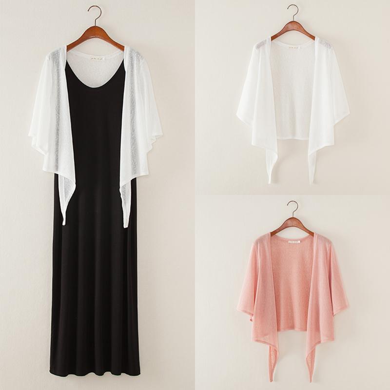 2018夏季韩版小披肩宽松大码开衫女薄款中袖短外套空调衫系带防晒