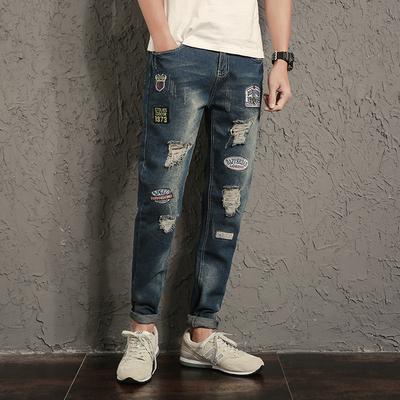 新款男破洞个性补丁牛仔裤修身大码牛仔长裤K030P50