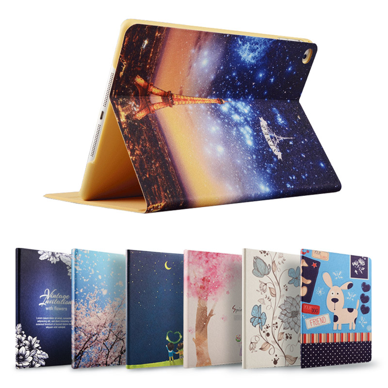 苹果iPad Mini保护套Mini23外壳韩国卡通轻薄Mini4休眠皮套 mini2彩绘mini3迷你支架7.9英寸外壳