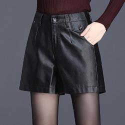 皮短裤女2020新款秋冬季宽松阔腿裤时尚高腰a字百搭显瘦外穿靴裤