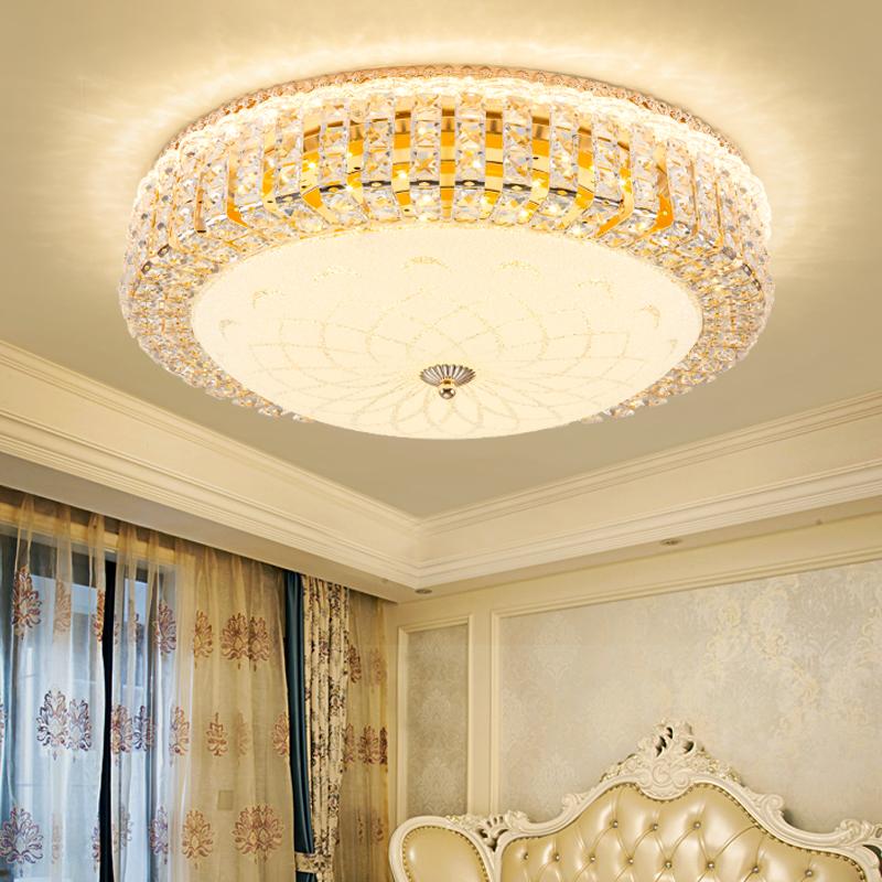 欧式吸顶灯简约现代房间温馨浪漫房间灯圆形书房水晶客厅卧室灯具