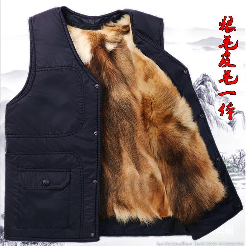 中老年人秋冬季羊毛马甲男皮毛一体真皮羊毛背心马夹加厚绒棉坎肩