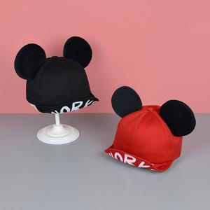 婴儿帽子 6-12个月春季1-2-3岁女宝宝米奇鸭舌帽男童女童猫耳朵帽