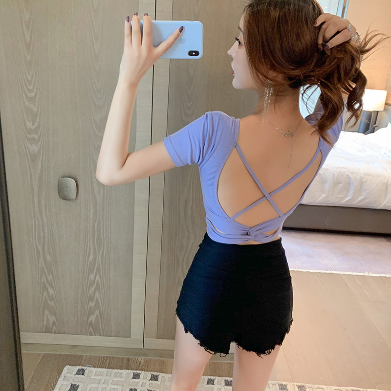 3815 real shot only taro red sexy tight foreign style blouse womens summer cross backless blouse