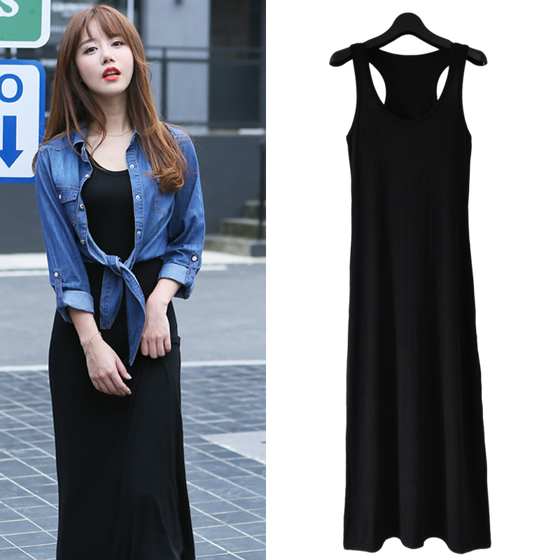 Modal suspender vest skirt Korean version slim black long skirt casual versatile beach skirt summer dress