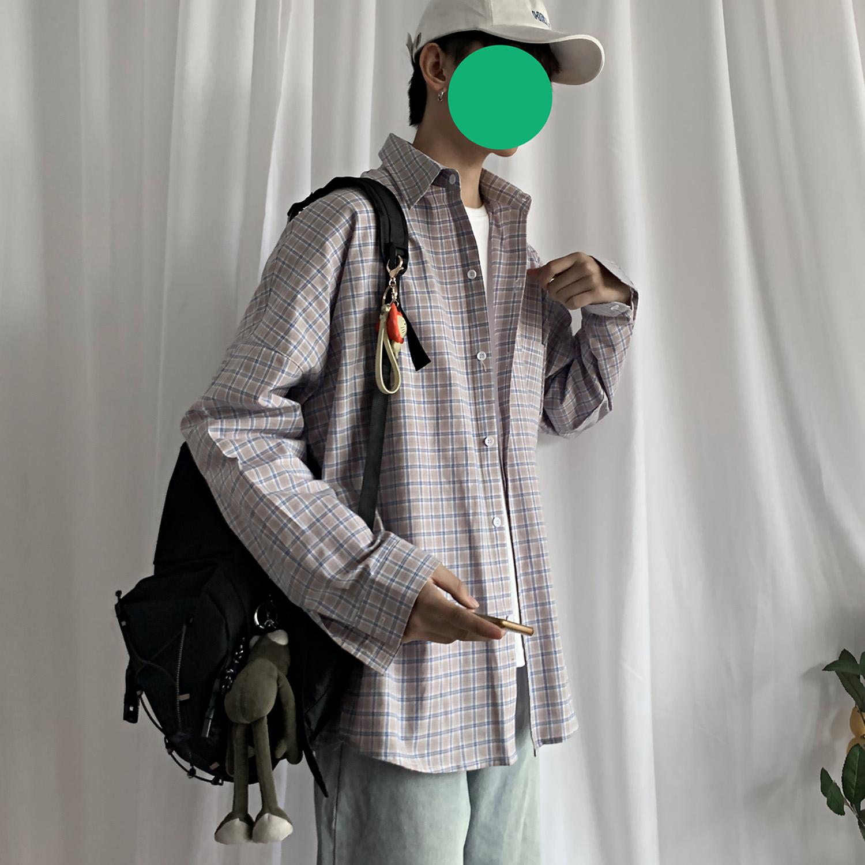 港风ins格子衬衫男士长袖韩版潮流大码外套休闲情侣衬衣CS601 P45