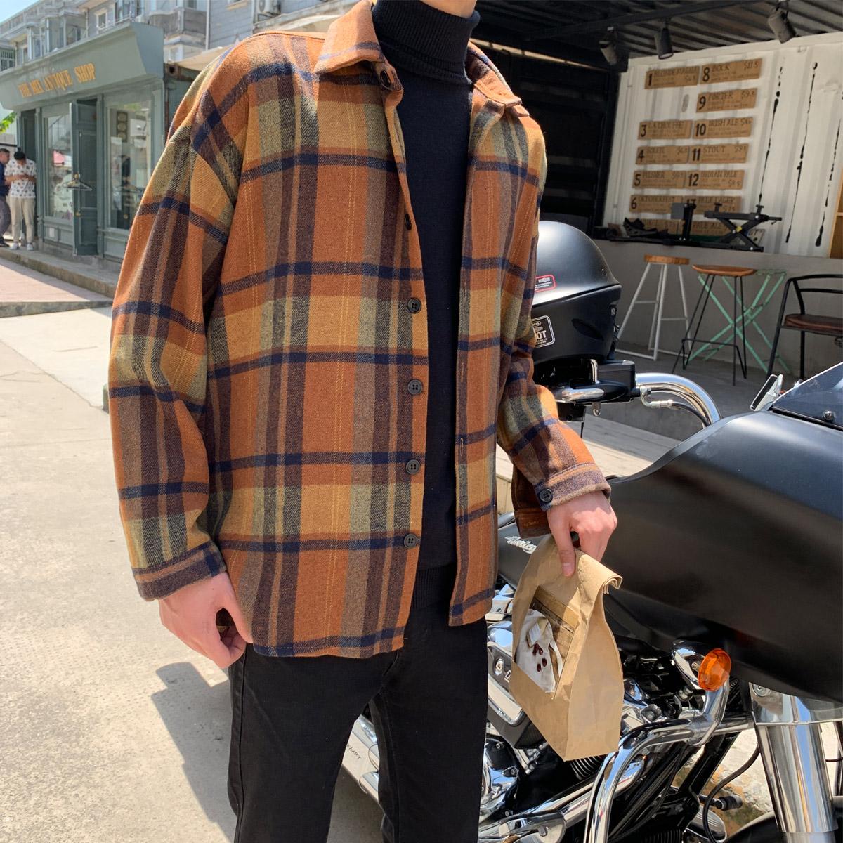 大货  秋季衬衫男韩版毛呢料格子外套宽松情侣装男衬衣 H1010 P60