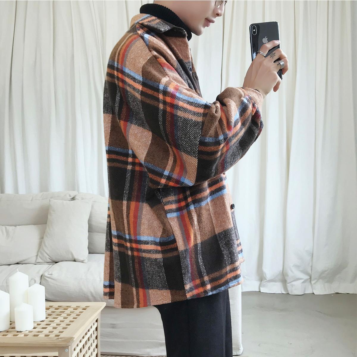 新品 港风格子衬衫秋季男士衬衣加大码潮流宽松情侣外套CS182-P65