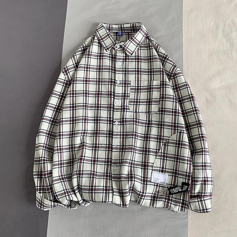 2020秋季港风格子衬衫男士大码长袖衬衣休闲衬男外套男装CC99 P35
