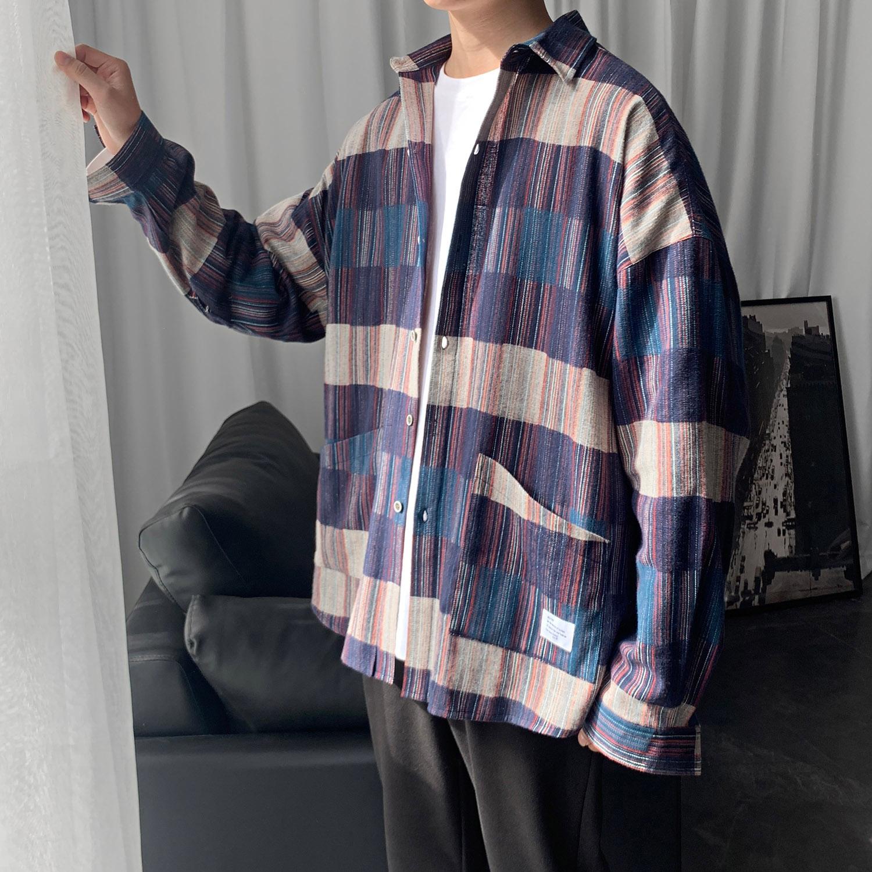 2020新款衬衫男格子长袖大码修身衬衣港风休闲学生外套CS602 P50