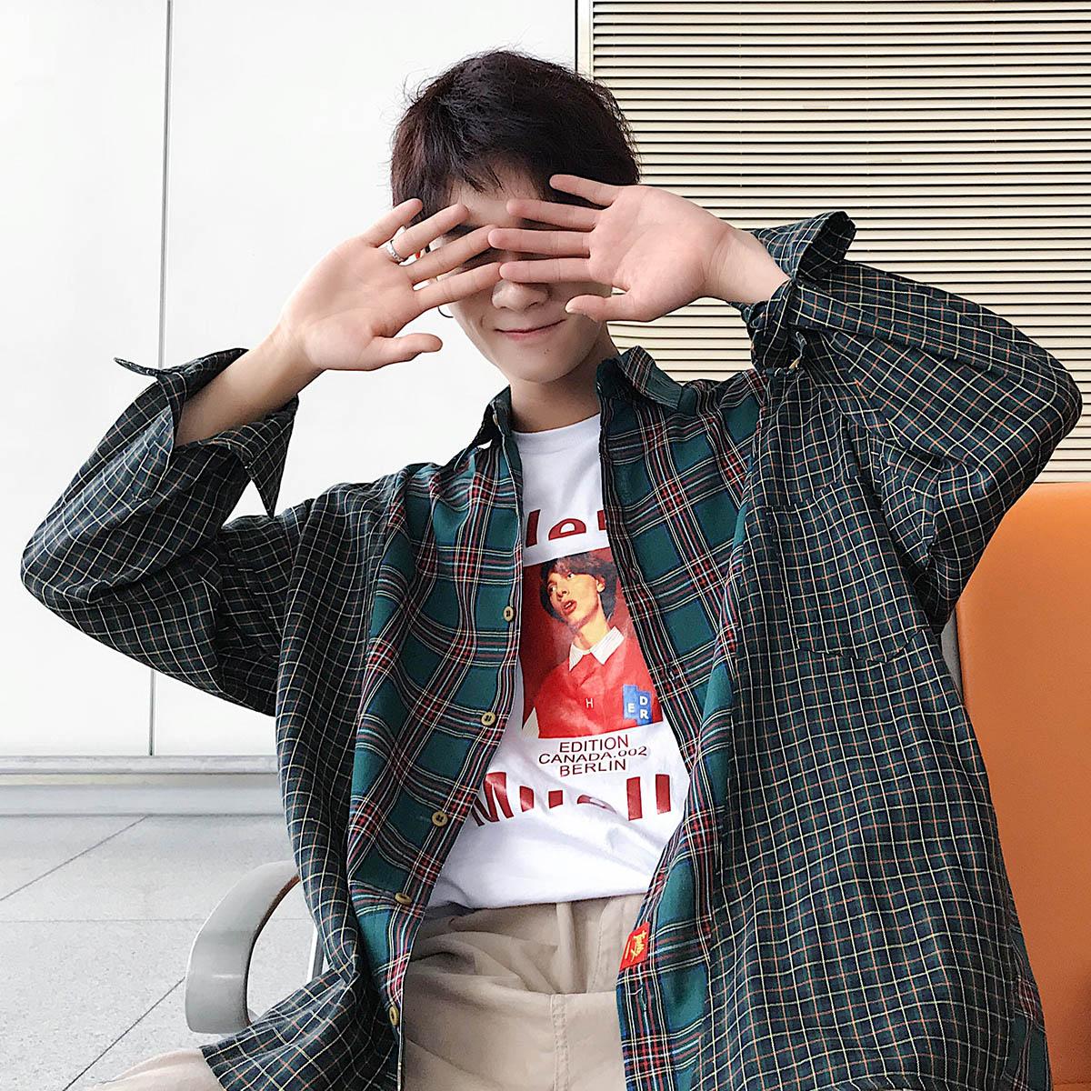 港风格子衬衫男外套春秋潮流流帅气网红很仙的大码衬衣GC806 P50