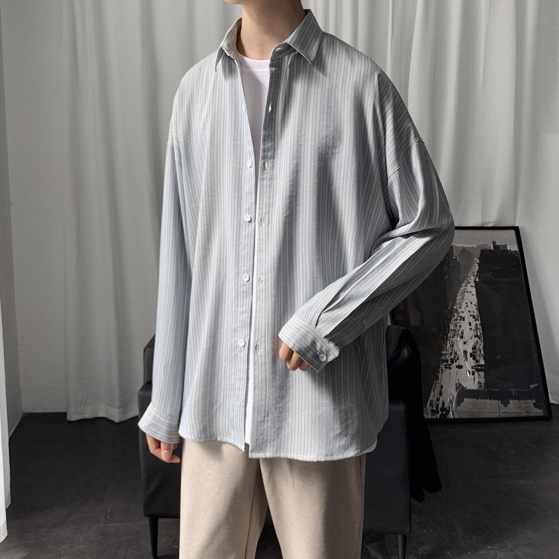 2020新款条纹衬衫男士长袖韩版修身潮牌休闲衬衣男外套CS603 P45