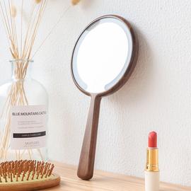 实木LED手柄化妆镜子充电带灯便携手持梳妆美容喜镜定制LOGO刻字