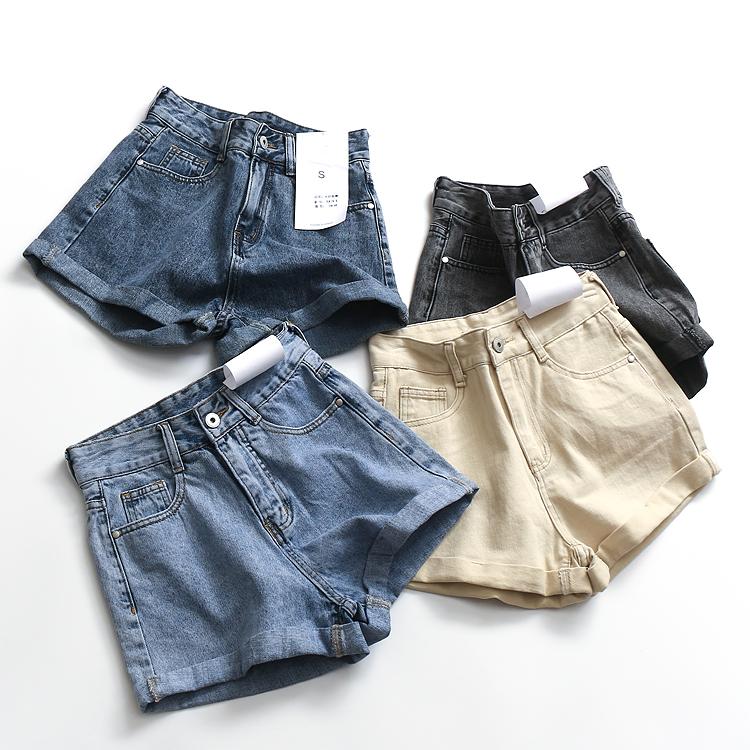 D165纯色百搭高腰显瘦修身翻边纯棉阔腿裤夏季新款女牛仔短裤热裤