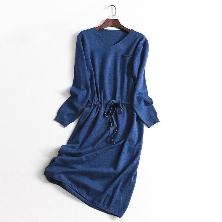 10-20新券O051 女装 秋冬新款纯色V领抽绳收腰修身长袖针织线裙女式连衣裙