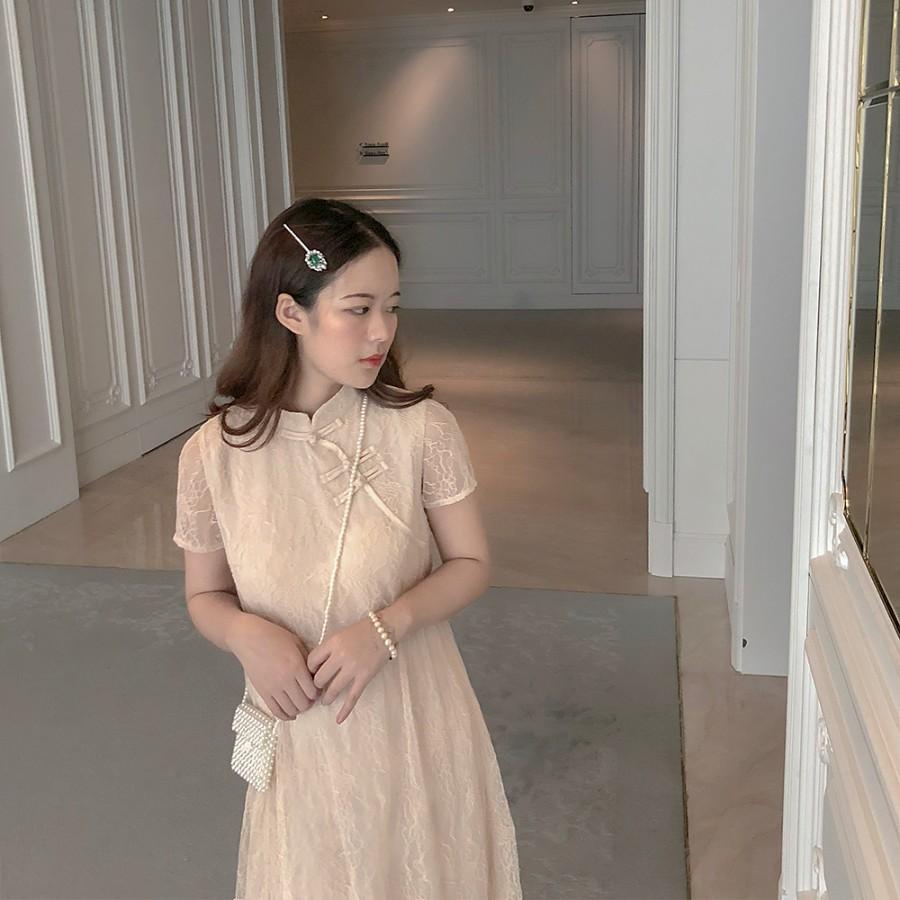 kerwang 日常蕾丝旗袍女改良版 年轻款复古 少女温柔夏季连衣裙