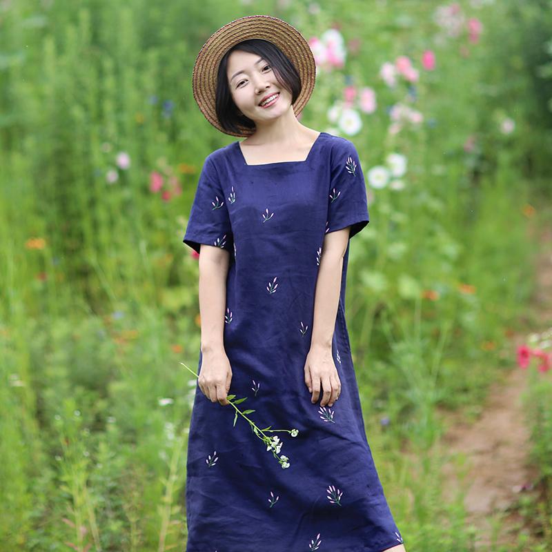 绽放衣橱文艺旅行女装蓝紫色重工绣花亚麻连衣裙 2018夏新款裙子