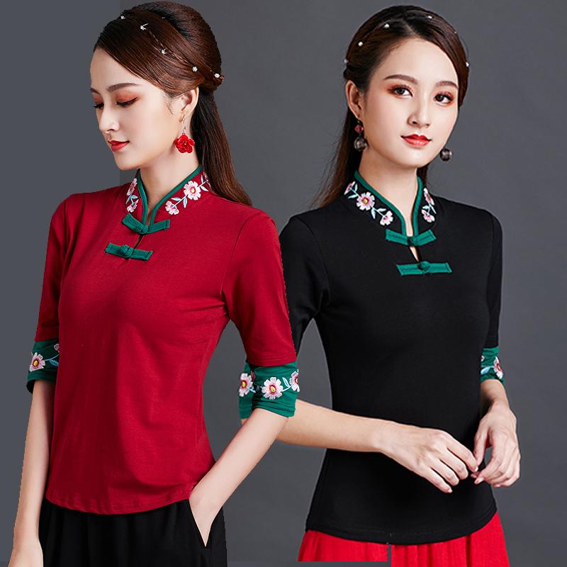 民族风绣花t恤女短袖 2020春装新品 中国风女装大码修身打底上衣图片