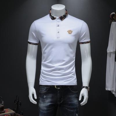 男士短袖POLO衫 高端丝光珠地棉 大码保罗衫7016 P85 白色