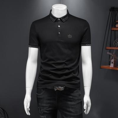 男士短袖POLO衫2021夏季新款皇冠简约体恤衫3581 P68黑