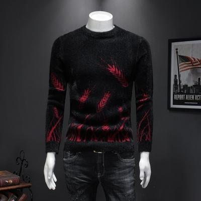 男士毛衣2019冬季新款加厚仿貂绒衫保暖舒适毛衫打底A7 P118红
